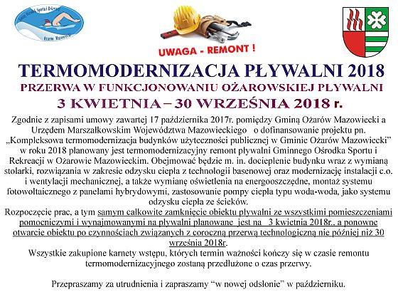 Informujemy, że w dniach od 3 kwietnia do 30 września 2018 roku Pływalnia będzie nieczynna z powodu remontu (termomodernizacja obiektu)