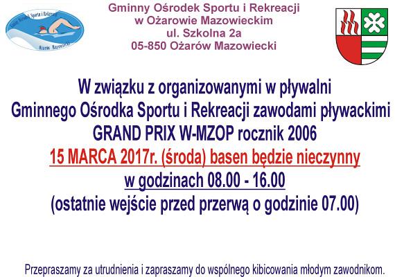 Basen będzie nieczynny 15 marca 2017 roku (środa) w godz. 8:00-16:00 z powodu rozgrywanych zawodów pływackich.