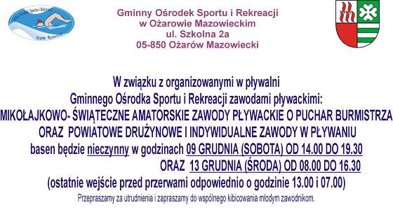 Informujemy, że w dniach 9 i 13 grudnia 2017 roku odbędą się zawody pływackie