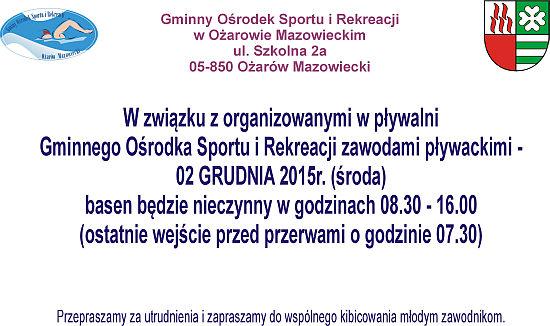 Zawody pływackie 2 grudnia 2015 r.