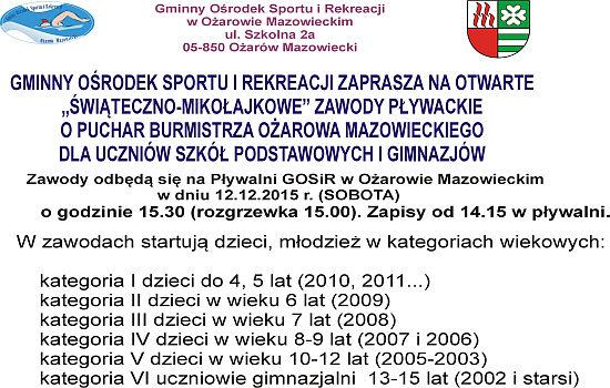 Zawody pływackie o Puchar Burmistrza Ożarowa Mazowieckiego