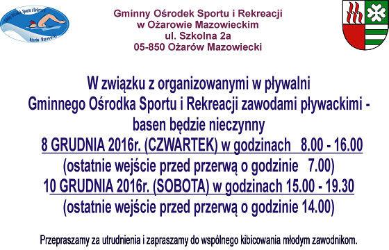 Informujemy, że w dniach 8 i 10 grudnia 2016 roku odbędą się zawody pływackie